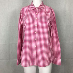 J. Crew Perfect Fit Pink Gingham Blouse Sz 6P